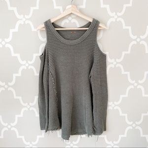 Free People Sunrise Cold Shoulder Green Sweater